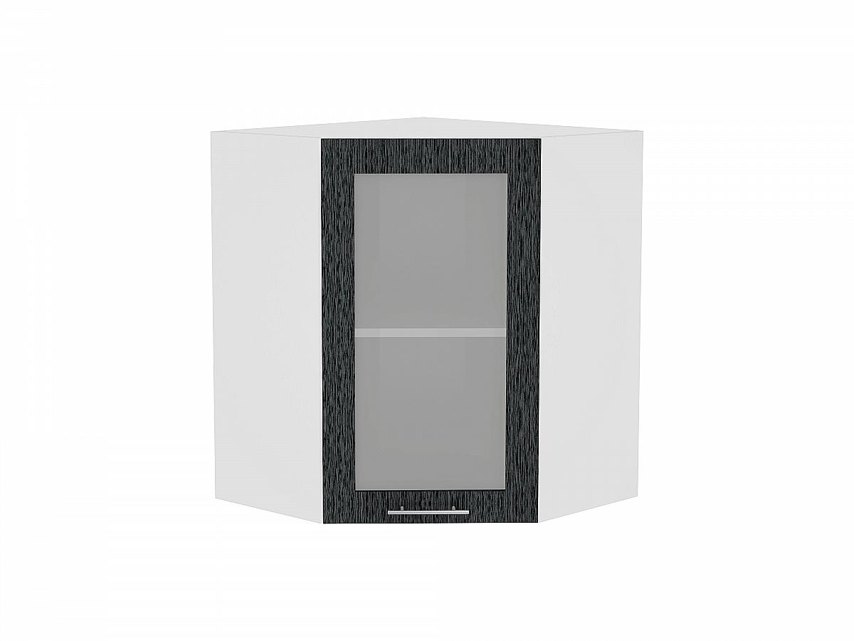 Шкаф верхний угловой Валерия ВУ599 со стеклом (чёрный металлик дождь)