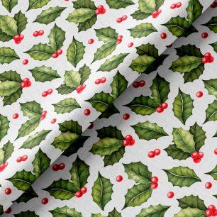 Хлопок рождественские листочки на белом 50х37 см.