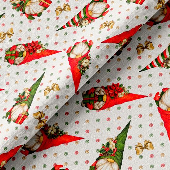 Хлопок рождественские гномы на белом 50х37 см.