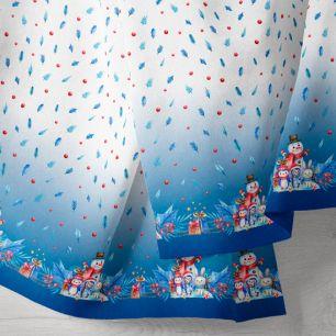 Хлопок - Бордюр снеговики на синем 25*75