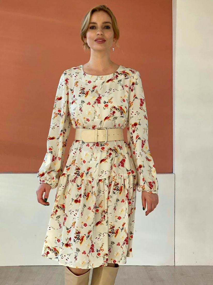 """4767 Платье с воланом с цвете """"Айвори"""""""