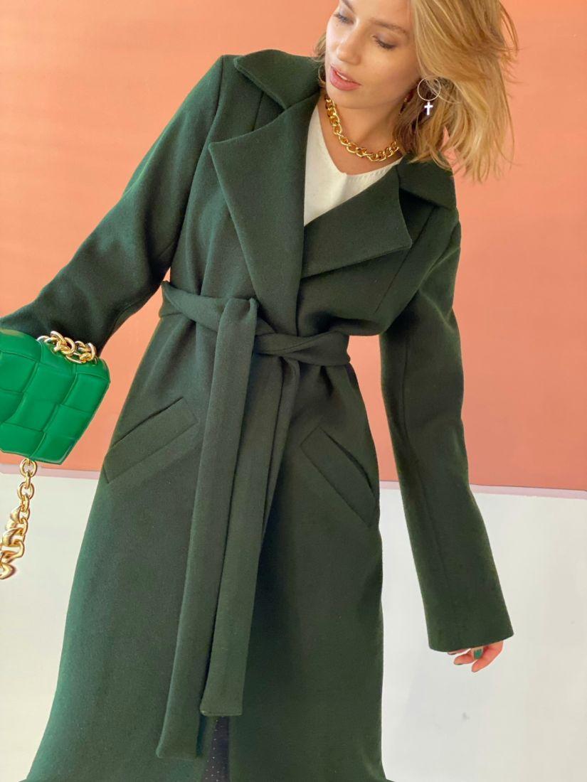 4770 Пальто классическое тёмно-зелёное