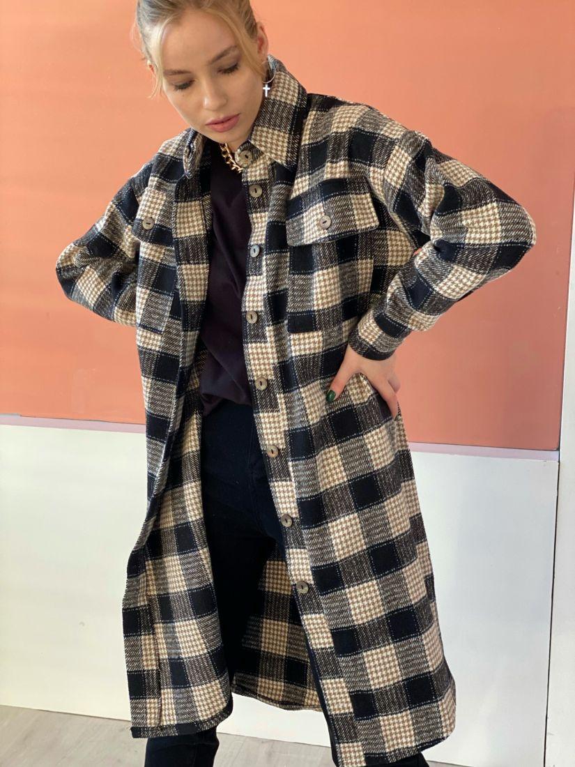 4775 Пальто-рубашка без подклада в бежево-чёрную клетку