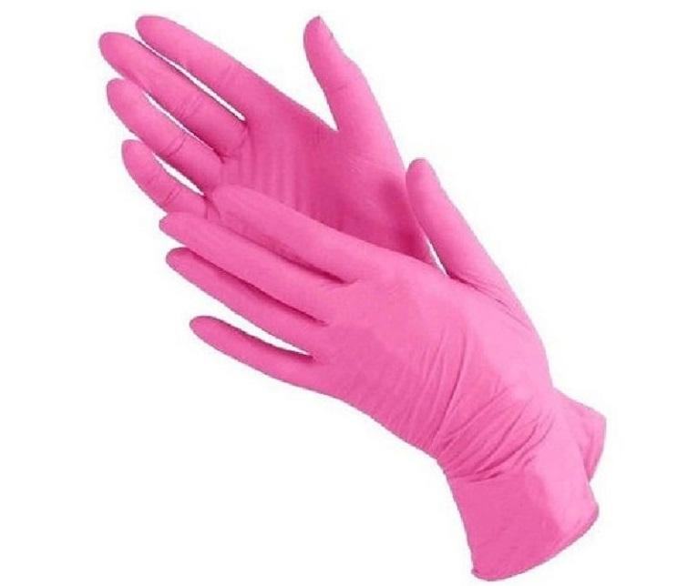 Перчатки нитриловинил М (розовые) Wally Plastic 50пар/уп