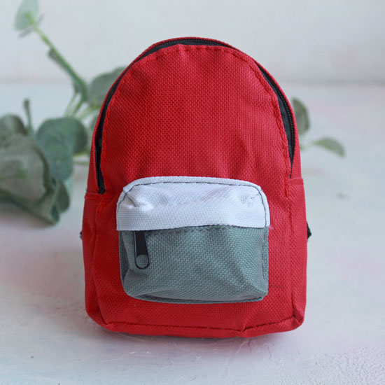 Кукольный аксессуар - Рюкзак для куклы тканевый Красный, 13 см