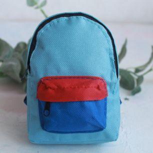 Кукольный аксессуар - Рюкзак для куклы тканевый Голубой, 13 см