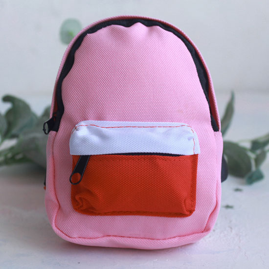 Кукольный аксессуар - Рюкзак для куклы тканевый Розовый, 13 см