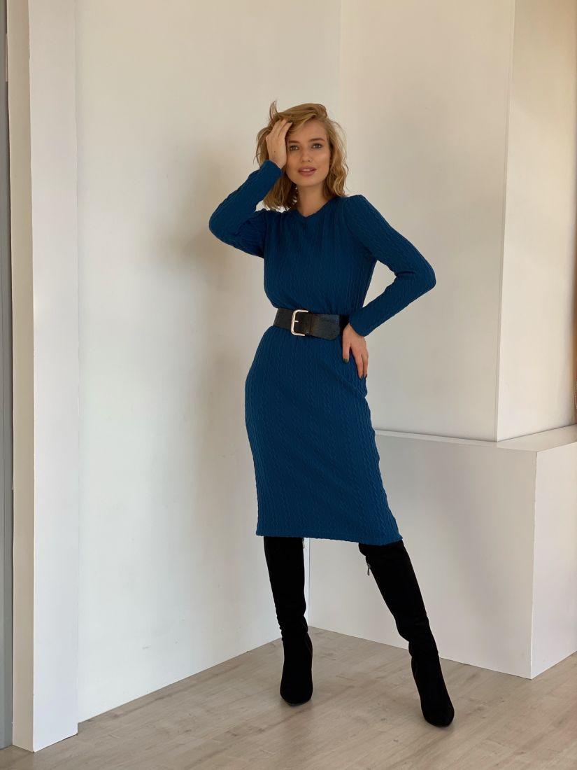 4784 Платье-свитер синее