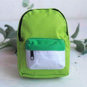Кукольный аксессуар - Рюкзак для куклы тканевый Зеленый, 13 см