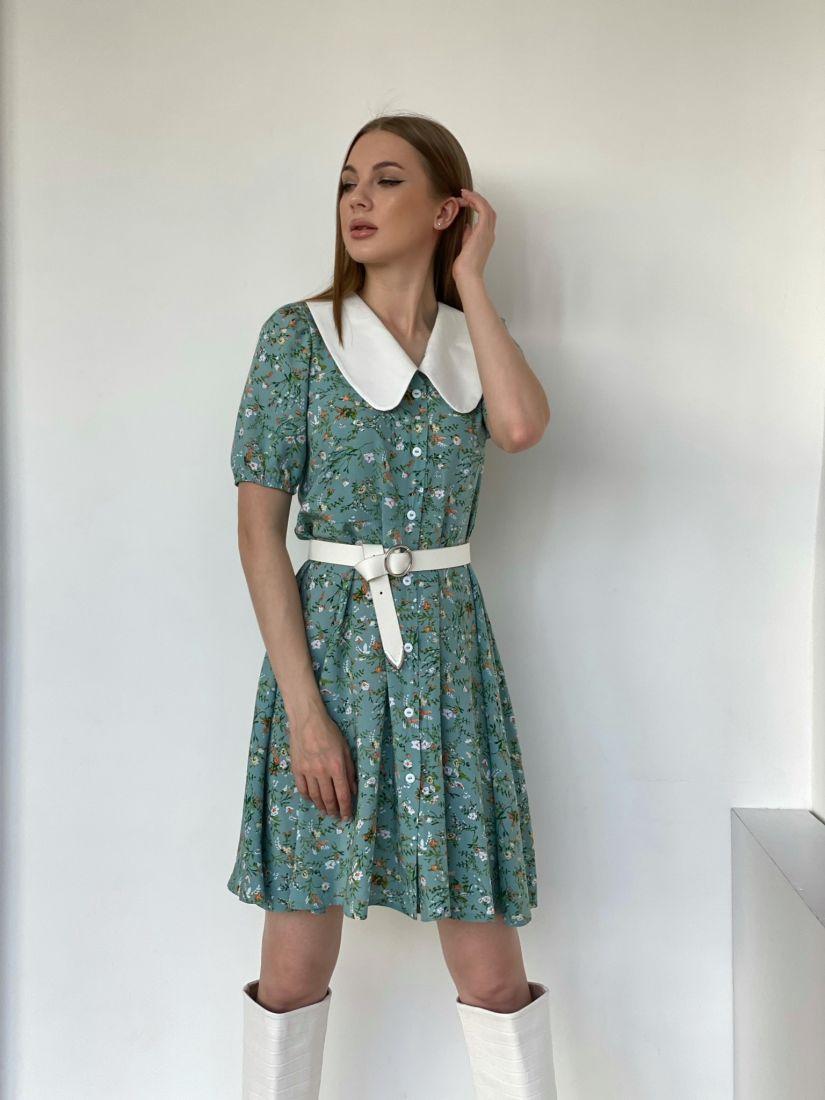 4794 Платье с акцентным воротником фисташковое