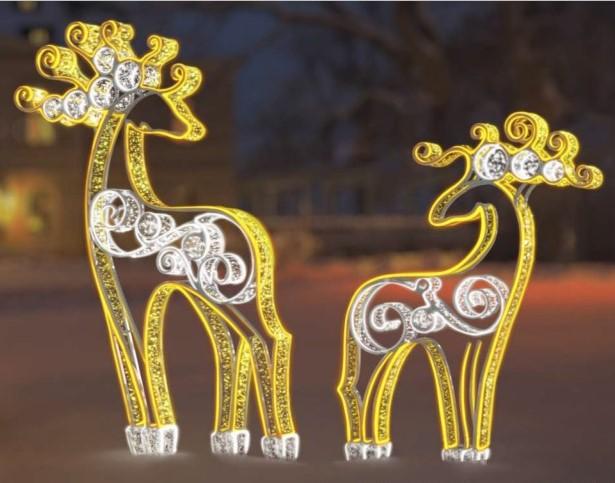 Светодиодная двусторонная 3D фигура «Волшебные олени»