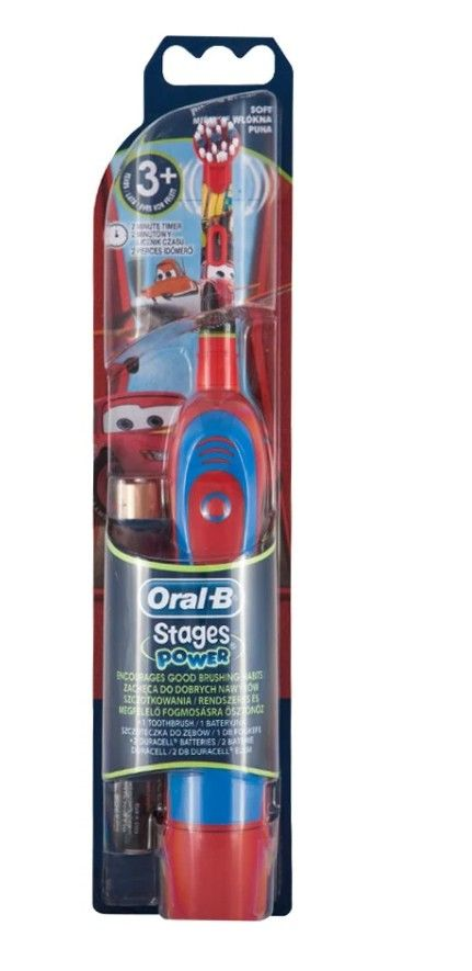 Электрическая зубная щетка Oral-B Stages Power Тачки DB4.510K, сине-красный