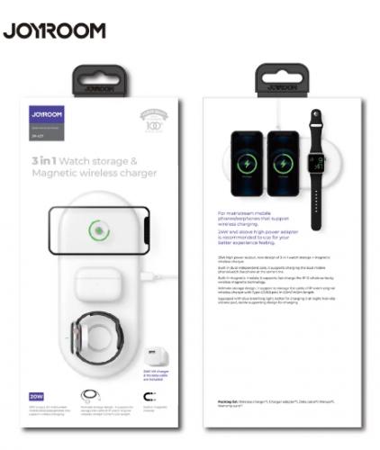 Док-станция для гаджетов Беспроводная зарядка Joyroom JR-A27 (3в1 для iPhone телефон-часы-наушники)