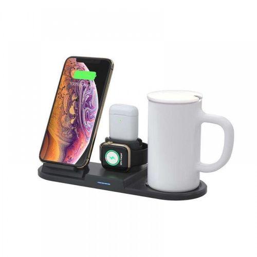 Док-станция.Беспроводная зарядка на 4 устройства и подогревом чашки(чашка в комплекте)wireless charger 55 thermostatic warmer mug