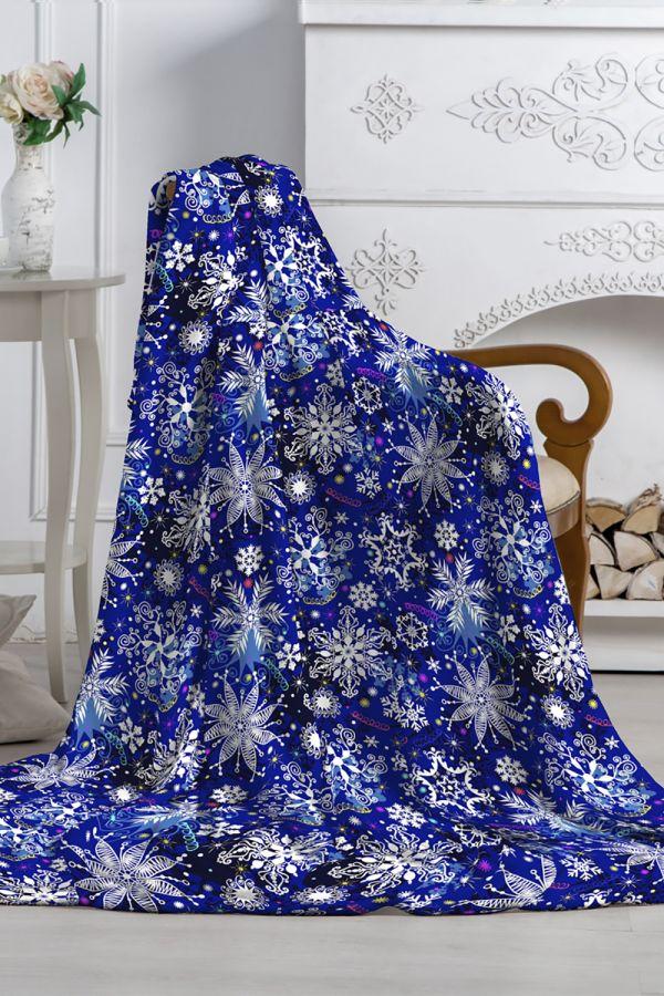 Плед Аэро Софт PAVLine Снежный вальс 2022 вид 2 [синий]
