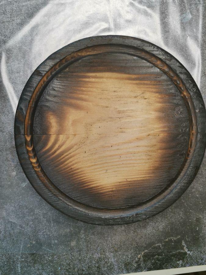 Доска, обожженная, круглая с фаской, массив сосны, 20 см, брак