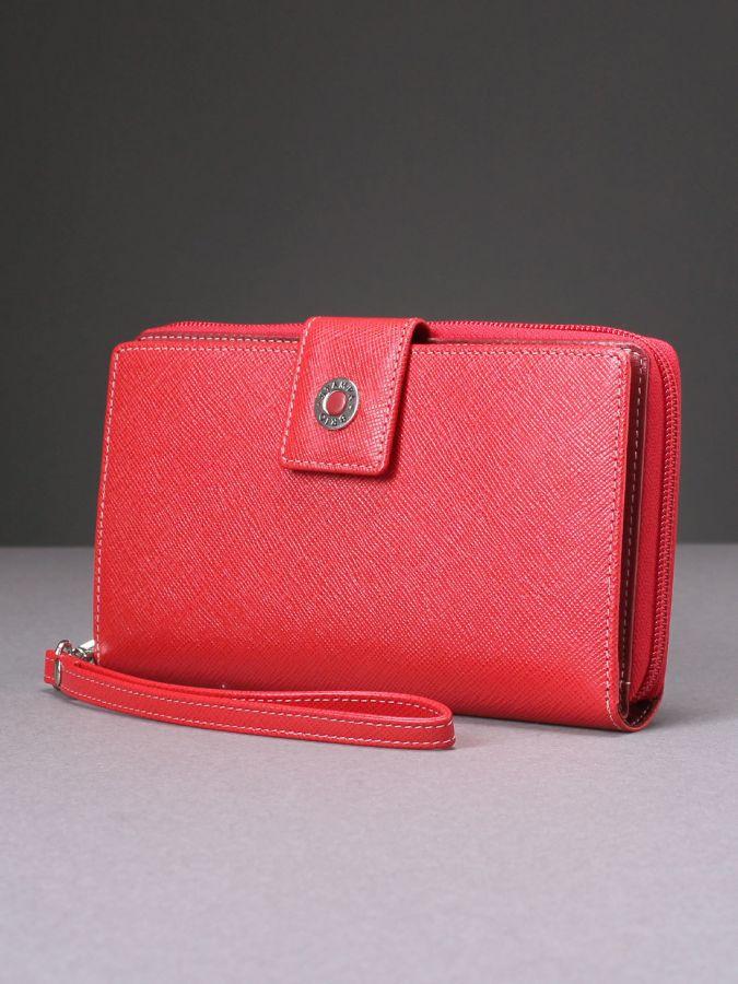 Кожаный женский кошелек-клатч с RFID защитой Stampa Brio 936-R-8123S RED