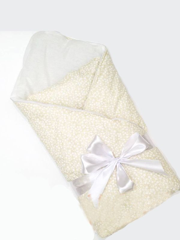 Одеяло на выписку БЯЗЬ с лентой (95 х 95) Бежевый