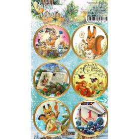"""Наклейки для цветов и подарков """"Новогодняя сказка"""", 16 × 9,5 см"""