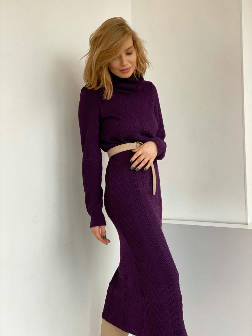 """4807 Платье-свитер c косами в цвете """"вино"""""""