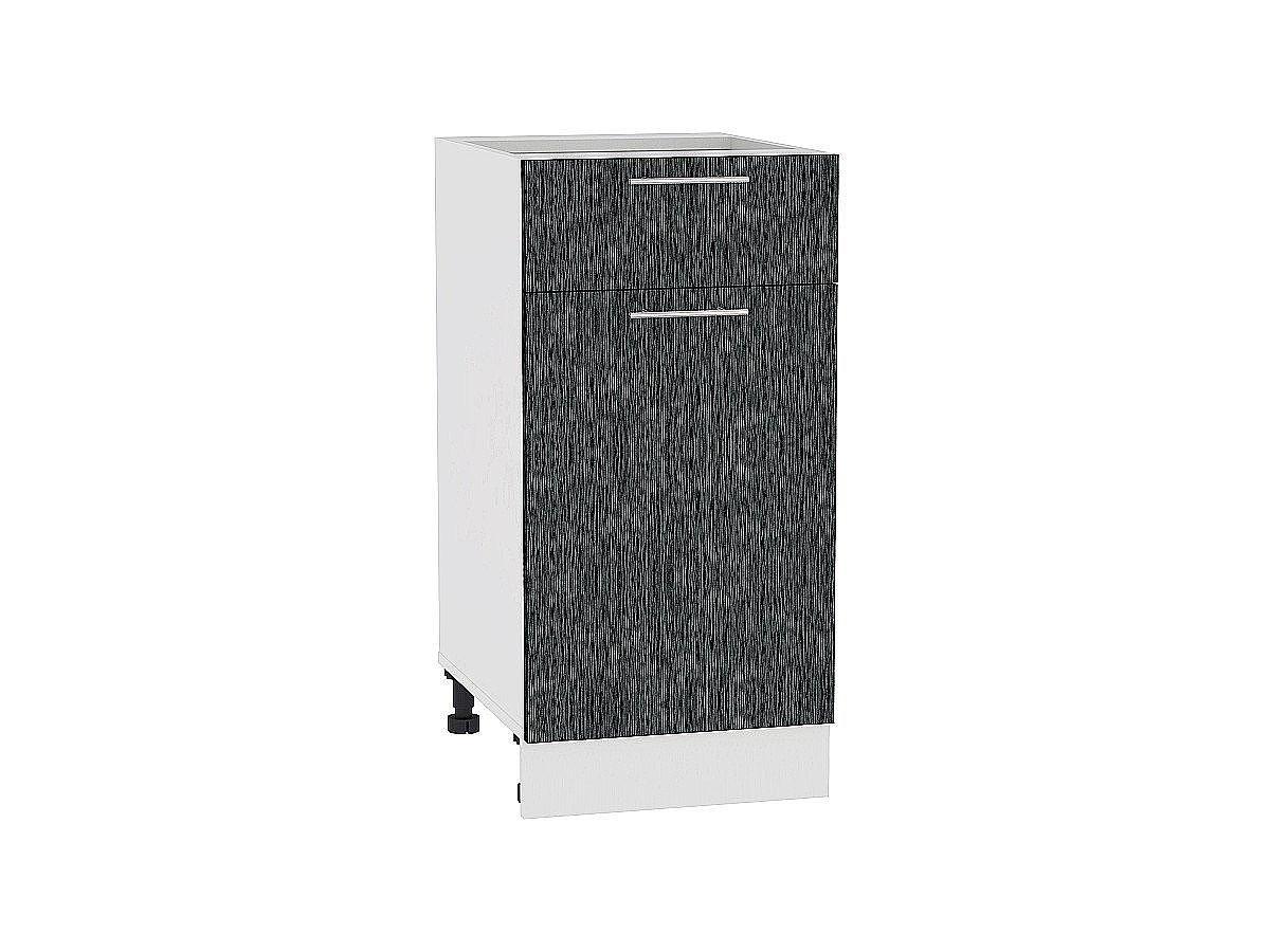 Шкаф нижний Валерия Н401 (чёрный металлик дождь)