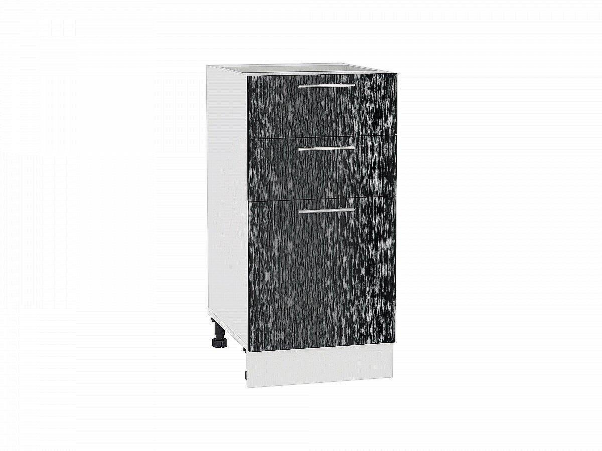 Шкаф нижний Валерия Н403 (чёрный металлик дождь)