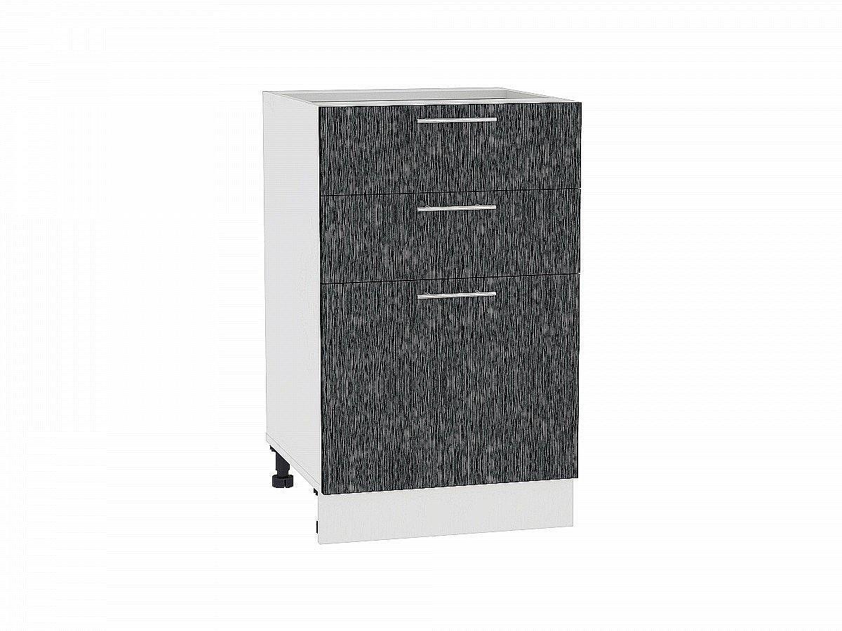 Шкаф нижний Валерия Н503 (чёрный металлик дождь)