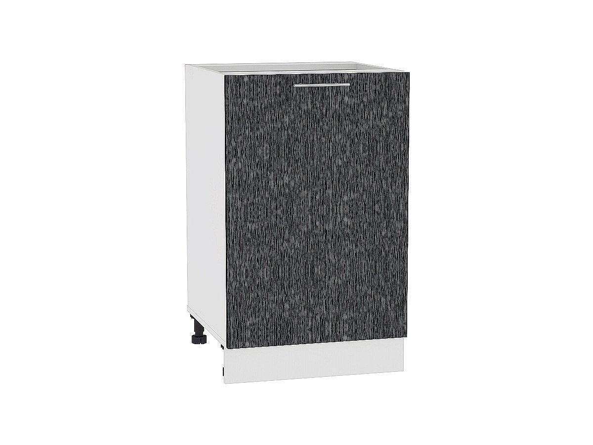 Шкаф нижний Валерия Н600-Ф46 (чёрный металлик дождь)
