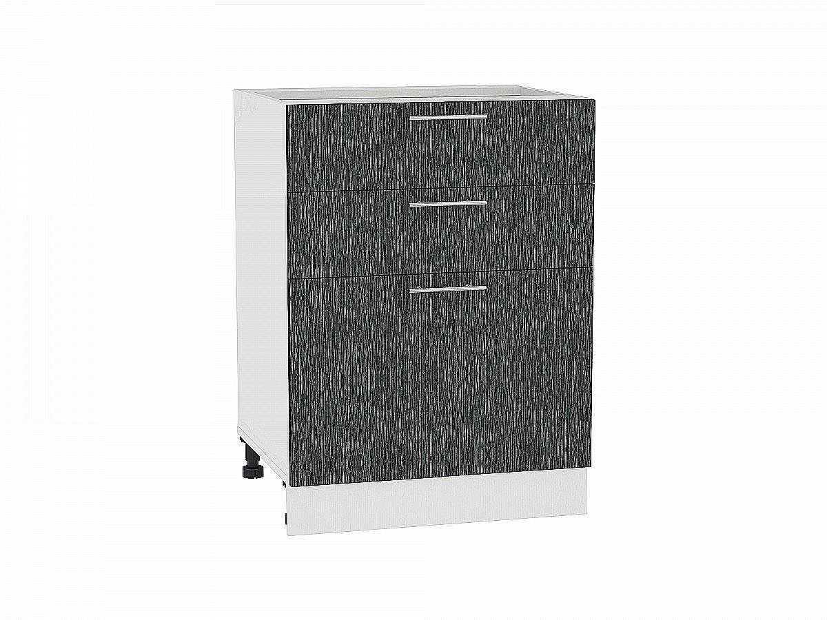 Шкаф нижний Валерия Н603 (чёрный металлик дождь)