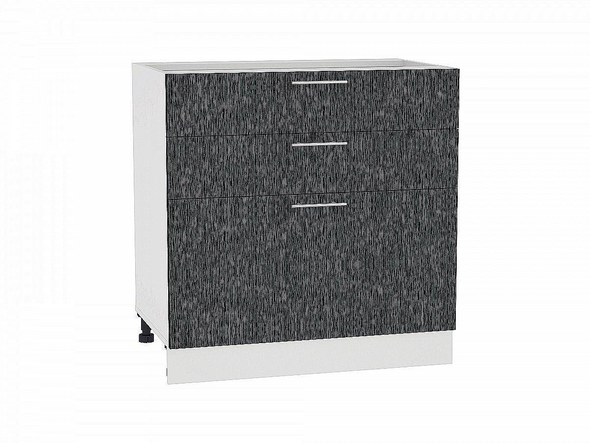 Шкаф нижний Валерия Н803 (чёрный металлик дождь)