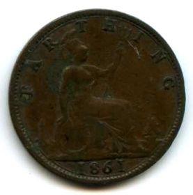 Великобритания 1 фартинг 1861