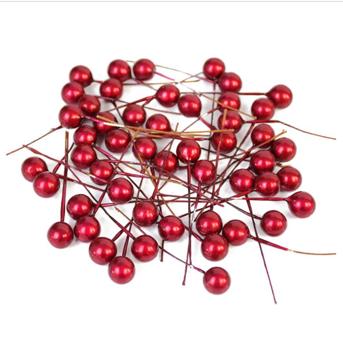 фото Шарики на проволоке для декора 12 мм 20 шт в упаковке темно-красный