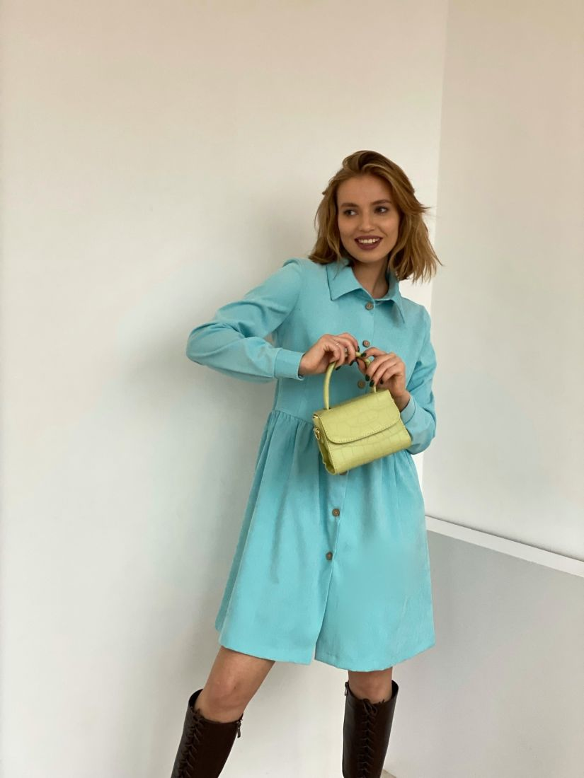 4816 Платье-рубашка голубое