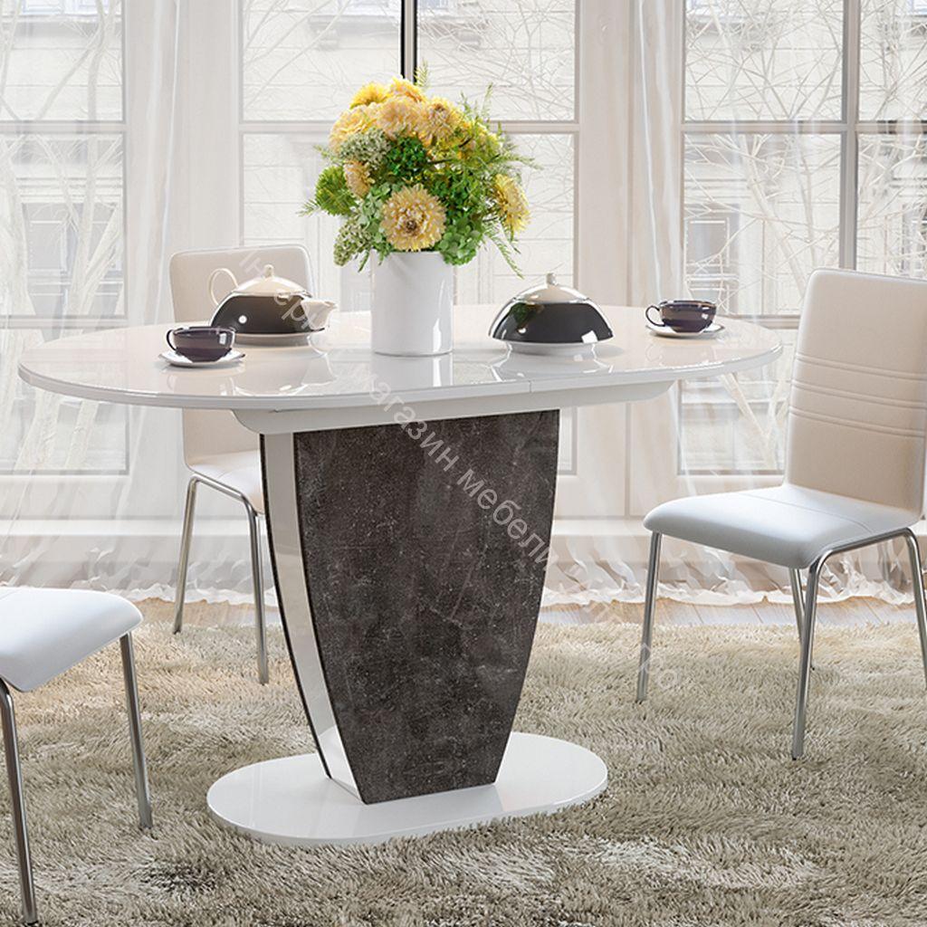 Стол обеденный «Монреаль» Тип 1 (Белый глянец/моод темный)