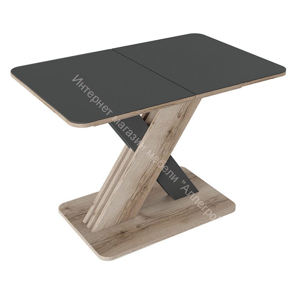 Стол обеденный раздвижной «Люксембург» Тип 1 (Дуб Делано/Серый/Стекло серое матовое)
