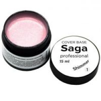 База для гель-лака камуфлирующая с шиммером Saga Professional Cover Base Shimmer №01, 15мл