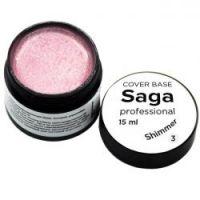 База для гель-лака камуфлирующая с шиммером Saga Professional Cover Base Shimmer №03, 15мл