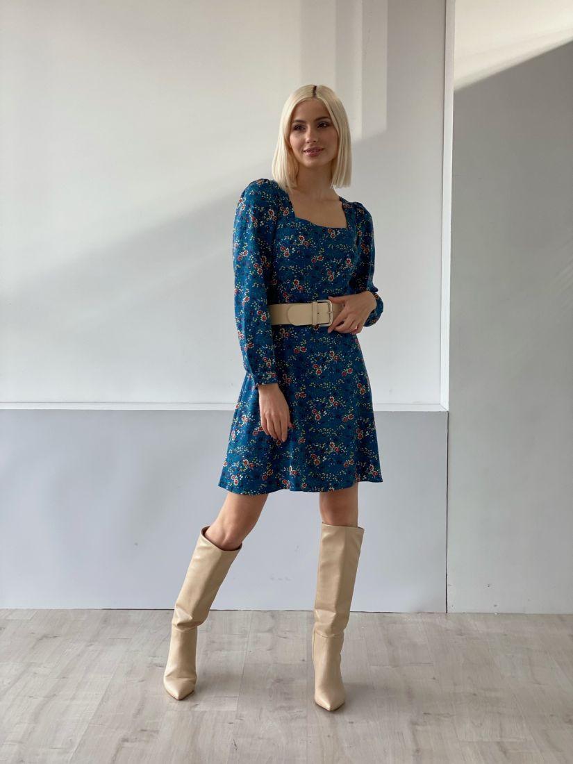 4833 Платье с квадратным декольте в глубоком синем