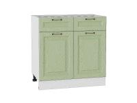 Шкаф нижний с 2-мя дверцами и 2-мя ящиками Ницца Н801 в цвете дуб оливковый