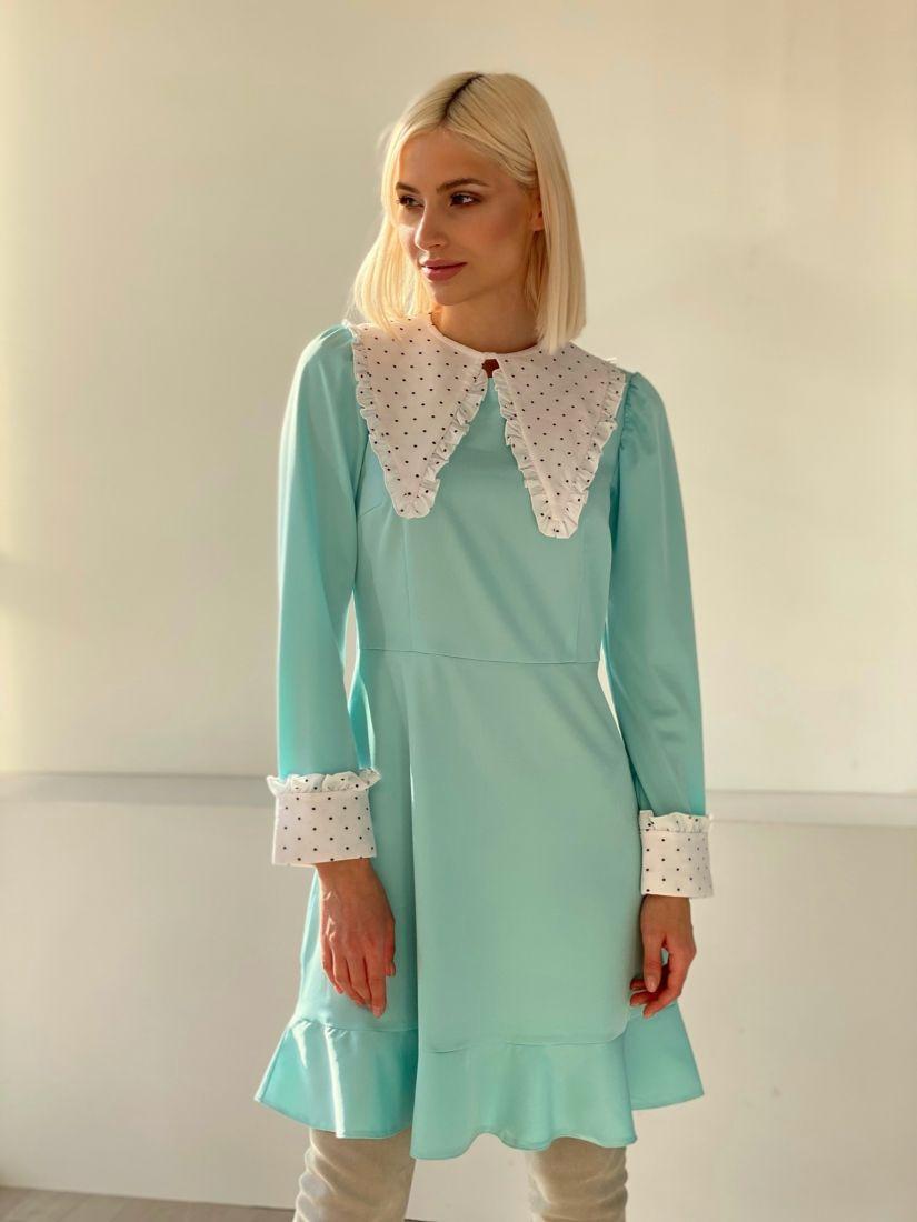 4834 Платье ментоловое со съёмным воротником