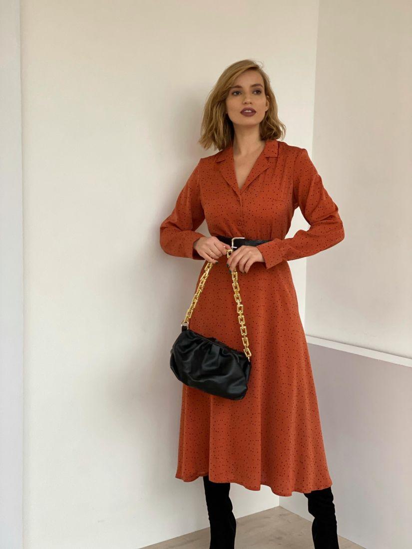 4836 Платье с английским воротником терракотовое