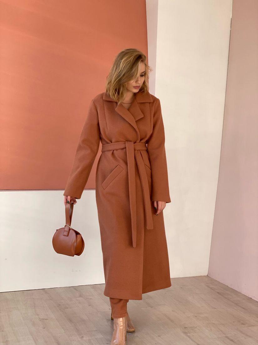 4841 Пальто классическое удлинённое в цвете Camel