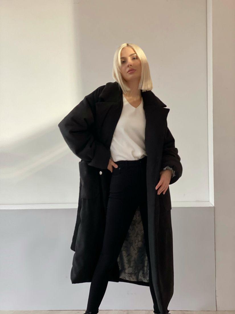 4847 Пальто-одеяло на альполюксе чёрное