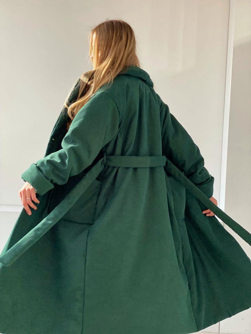 """4851 Пальто-одеяло на альполюксе """"изумруд"""""""