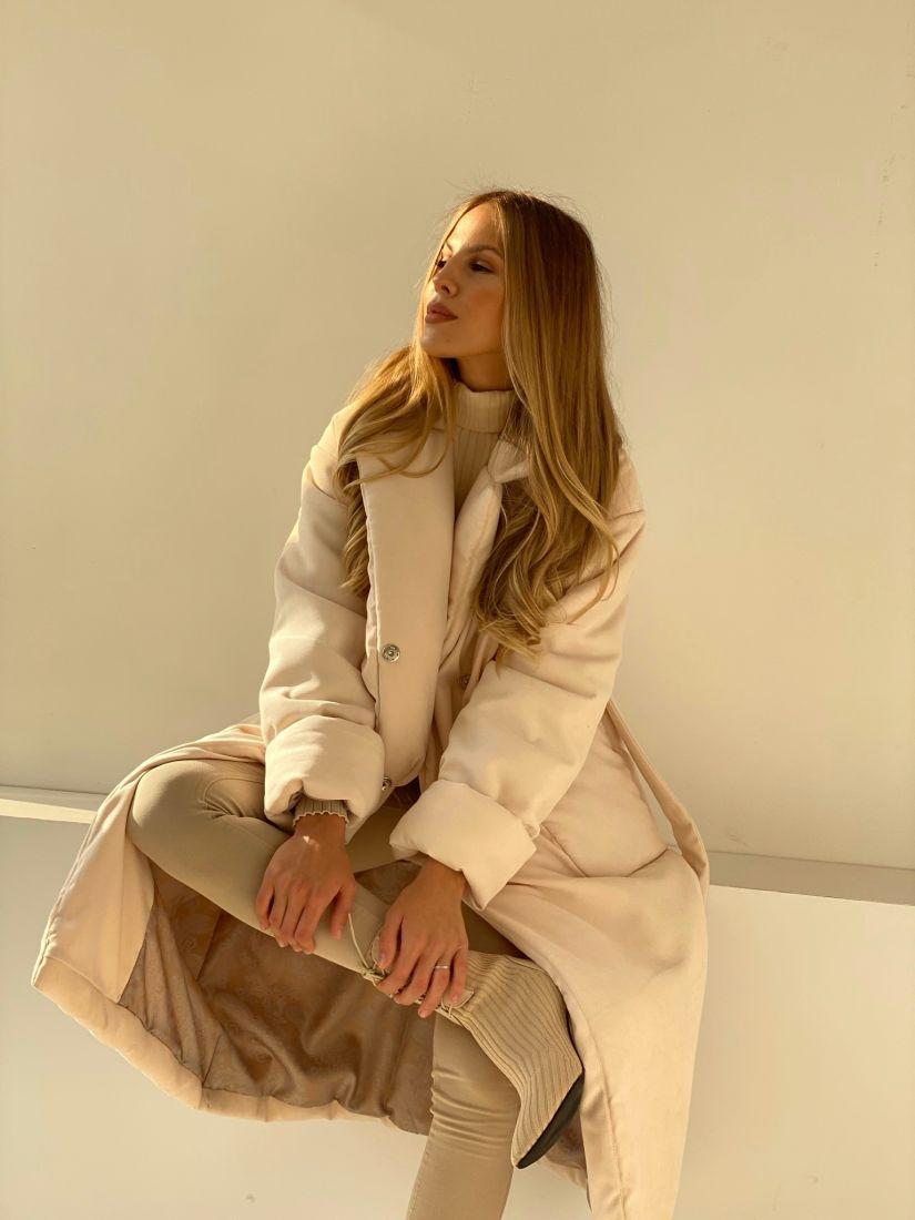 4853 Пальто-одеяло на альполюксе молочное