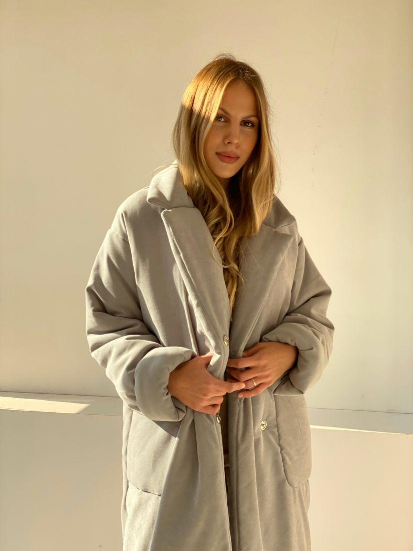 4854 Пальто-одеяло на альполюксе серое