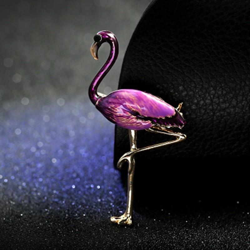 Брошь Фламинго металл с эмалью  Разные цвета XZ84