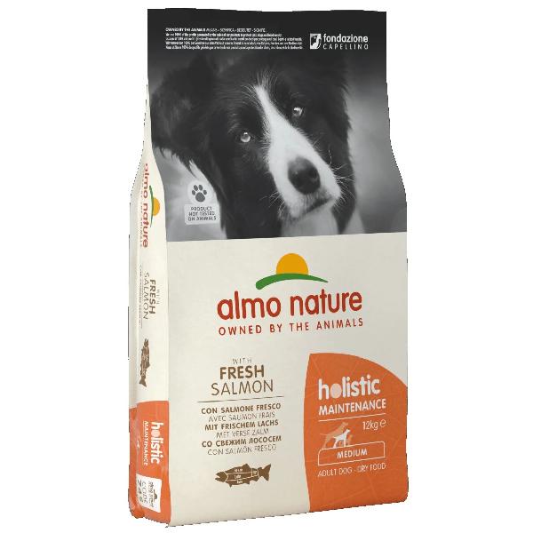 Сухой корм для собак средних пород Almo Nature Holistic с лососем 12 кг