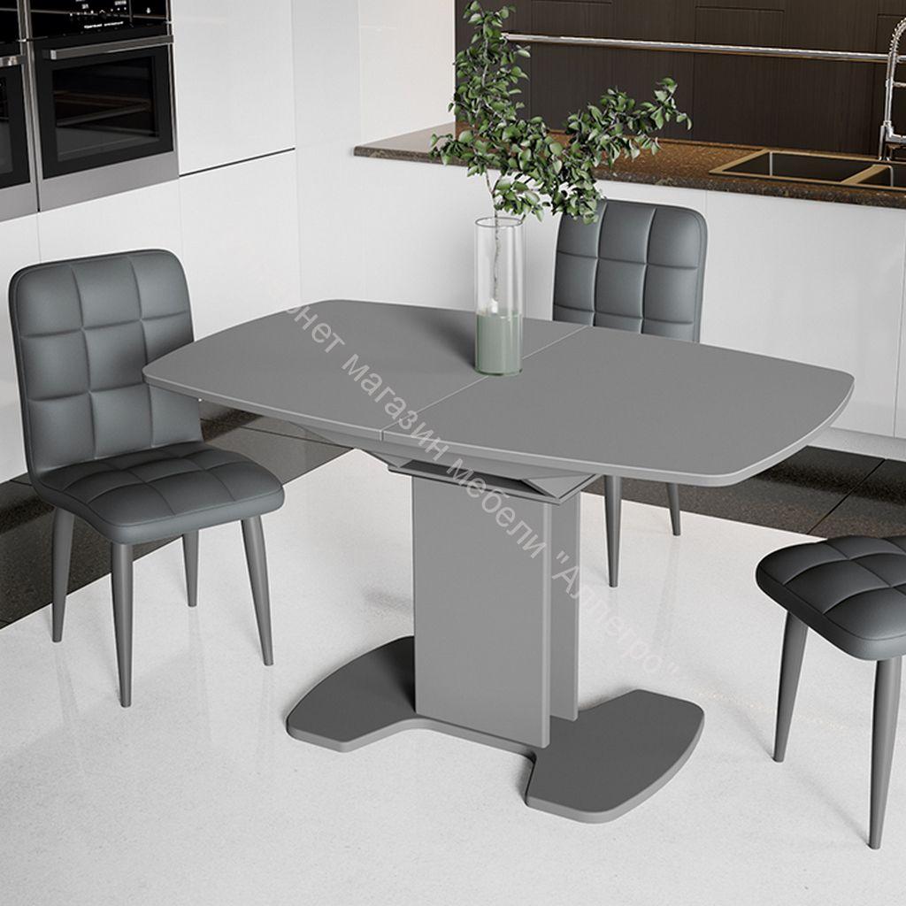 Обеденный стол Портофино 1300x800x750мм Серый/Стекло серое матовое LUX СМ(ТД)-105.02.11(1)