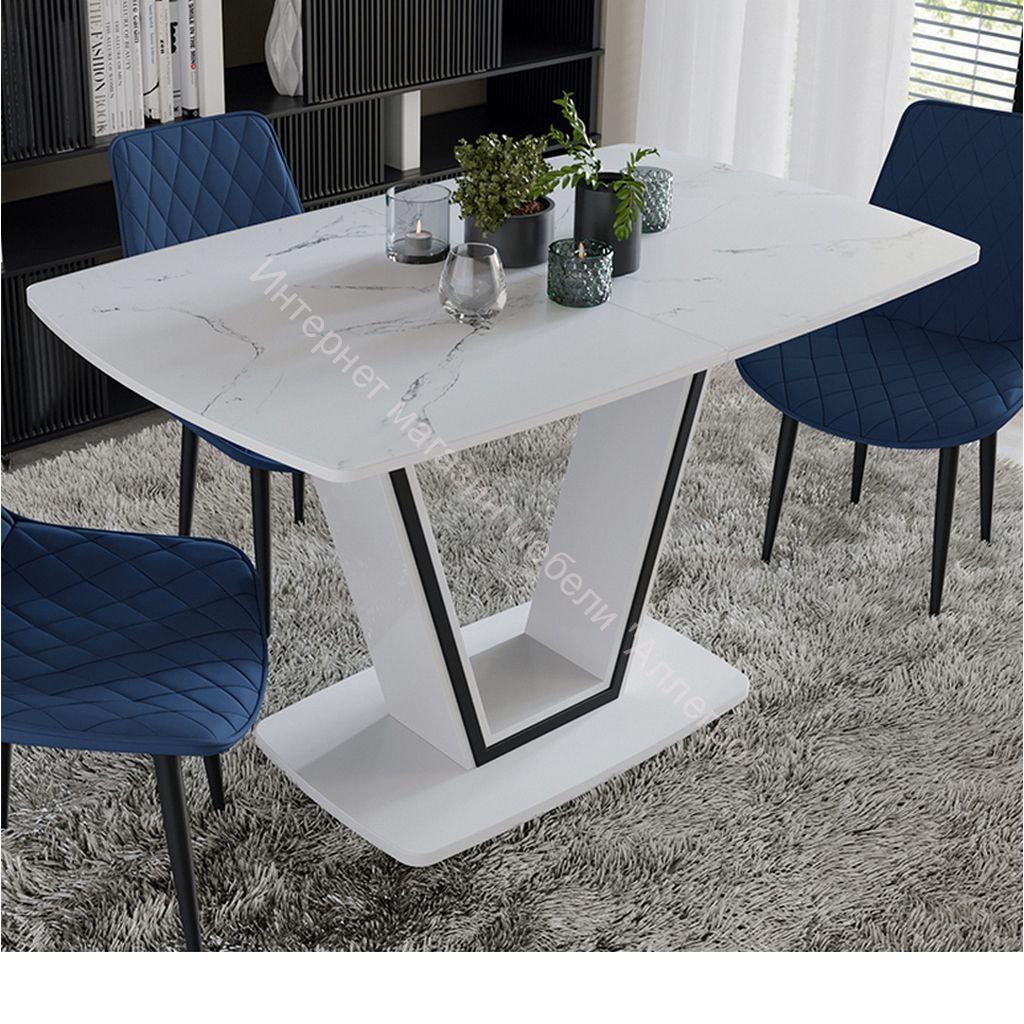 Стол обеденный «Дели» Тип 1 (Белый глянец/Стекло матовое белый мрамор)